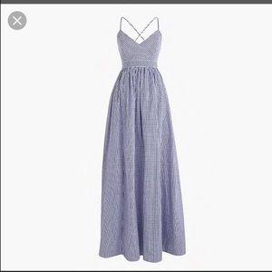 J Crew Gingham Maxi Dress NET sz 6
